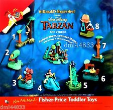 2000 McDonalds Tarzan Jungle Home Video Playset MIP Complete Set - Lot of 8, 3+