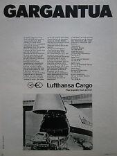 10/73 PUB LUFTHANSA CARGO BOEING 747F VOLKSWAGEN COCCINELLE GARGANTUA FRENCH AD