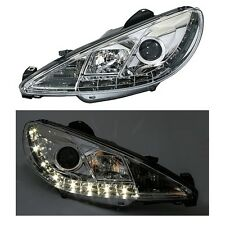 PHARES FEUX AVANT DEVIL EYES CHROME LED H4 H7 PEUGEOT 206 X LINE PACK CLIM POP