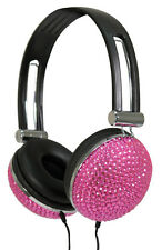 PINK CRYSTAL DIAMANTE BLING RETRO HEADPHONES