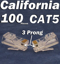 100 X Plug 3 Prong RJ45 Network CAT5 Cable Modular CAT5e 8P8C Connector Ethernet