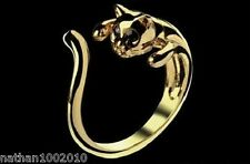 Cute Gold Cat Shaped Ring With Rhinestone Eyes,  Size Adjustable!!
