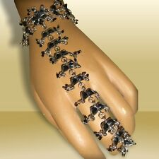 Hand decoration with Ring,Bollywood- Indian Black kundan jewelry gothic