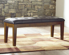 Ashley Design Dining Room Furniture Upholster Faux Leather Brown Bench #D594-00