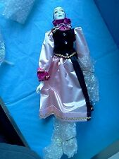 """VINTAGE 16"""" JESTER Pierrot Clown Doll New IN Box Porcelain Pink Black outfit"""