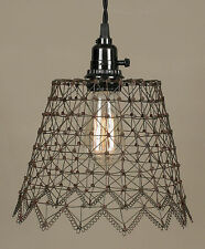 Rustic Primitive Woven French Wire Industrial Hanging Pendant Lamp Green/Rust