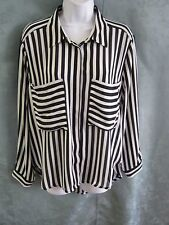 Sans Souci Blouse Size Medium B&W Striped Shirt Retro Trendy Sheer Top