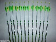 12 Gold Tip XT Hunter 7595 340 Carbon Arrows Custom White Dip Crest/Blazer Vanes
