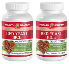 Red Yeast Rice Organic.Reduces Cholesterol Level & Heart Health (2 Bottles)
