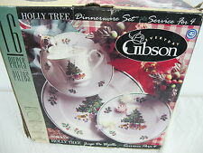 GIBSON HOLLY TREE CHRISTMAS  DINNERWARE PLATES CUPS SAUCERS 15 PCS