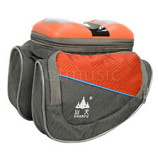 Cycling Bike Triangle Frame Pannier Stereo Speaker Front Tube Saddle Bag Orange