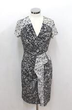 BCBG MAX AZRIA Ladies Black & White Ruffled Cap Sleeve V Neck Midi Dress M