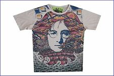 men shirt short sleeve cotton John Lennon Beatles Rock Hippie Music Art Mirror