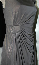 NEW Connected Apparel Women's Metallic Ruched Sleeveless Dress Grey/Gold - 6
