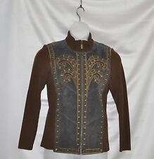 Bob Mackie Washable Suede Jacket w/Knit Sleeves Size S Brown