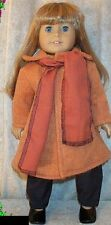 """Doll Clothes fit American Girl 18"""" inch Wool Coat Rust 2pc Scarf New"""