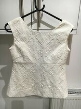 ZARA TRAFALUC SIZE SMALL CREAM/IVORY TEXTURED OPEN BACK TOP WITH RIBBON TIE BACK