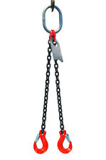 "3/8"" 5 Foot Grade 80 DOS Double Leg Lifting Chain Sling - Oblong Sling Hook"