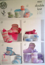 King Cole DK Knitting pattern Boots Hug Slippers  babies childs adults 4325