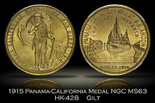1915 HK-428 Panama California Expo Official Medal Gilt NGC MS63 Uncle Sam SC$1