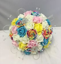 ARTIFICIAL BRIDE RAINBOW FLOWER FOAM ROSE BROOCH CRYSTAL WEDDING BOUQUET SPARKLY