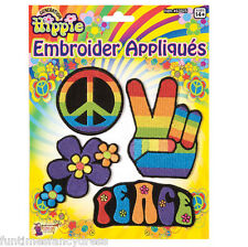 1960's Hippy Hippie Festival CND Flowers Peace Appliques Badges Fancy Dress