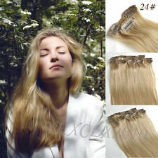 Full Head Clip in 100% Remy Human Hair Extensions  14inch-24inch  14Color