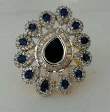 Simulated Cubic Zirconia Cocktail Sapphire Cluster Ring Gold Plated 1012 0RC 38