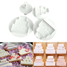 4Pcs Three layer Wedding Cake Decorating Mould Cookie Sugarcraft Plunger Cutters