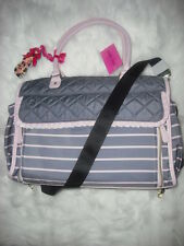 BETSEY JOHNSON BE MINE ROLL OUT GRAY PINK BABY DIAPER BAG INSULATED BOTTLE NWT