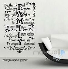House Family Rules Vine Wall Sticker Quote Removable Decals Vinyl Decor Room Art
