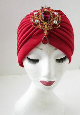 Red Gold Diamante Embellished Turban Vintage Flapper 1920s Headpiece Cloche A80