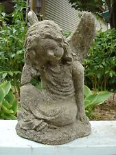Vintage Cement Small Sitting Angel Garden Statues- Great Patina!