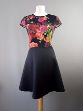 Ted Baker dress Xylee juxtapose rose floral / block skater black size 2 UK 10