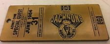 Jackson's World Tour 84' Pepsi brass ticket back stage pass - June 1984 1st row