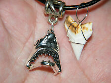 "SHARK Tooth Necklace & Great White Silver JAWS MOUTH Opens UP! 18""  to 20"" NEW!"