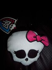 """GOTH MATTEL 4"""" MONSTER HIGH PLUSH SKULL W/PINK BOW CLIP ON CHANGE PURSE-POUCH"""