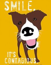 SMILE IT'S CONTAGIOUS GINGER OLIPHANT PRINT 11x14 cute dog motivational poster