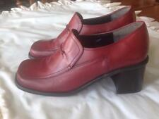 "Hillard & Hanson Dark Red/Brick Leather Oxford Shoes 3"" Block Heel Size 9 Med."