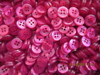 50 x Size 18 (11mm) Cerise Pink 4 Hole Buttons Baby Sewing Knitting Craft Doll