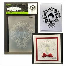 Darice embossing folders 1219-421 LAMP WREATH embossing folder Christmas