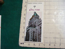 Vintage High Grade brochure: THE ROYAL YORK Hotel, toronto, 1973--12pgs