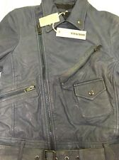 Diesel Leather Jacket XS Blue Vintage