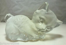 VINTAGE VIKING GLASS SATIN GLASS HAND MADE CAT FIGURINE PAPERWEIGHT, c. 1970's