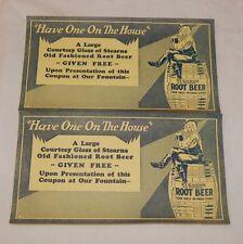 Vintage set of Stearns Root Beer Free Glass of Root Beer advertising coupon