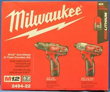 NEW Milwaukee 2494-22 M12 LITHIUM-ION 12-Volt Impact Drill/Driver 2pc. Combo Kit