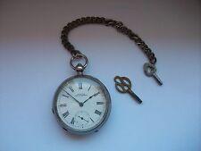 Silberne Schlüssel-Taschenuhr, um1880,Waltham-Werk Massachusetts,90 Gramm +Kette