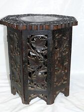 Antique Anglo Indian Carved Octagonal Rosewood Wooden Inlaid Folding Side Table