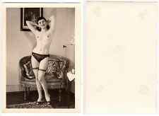 Nackte Frau in Reizwäsche Girl nude with dessous Foto RPPC um 1960 (2)