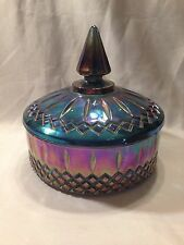 INDIANA   Blue Purple Iridescent Carnival Glass Princess  Candy Bowl with Lid